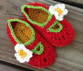 Red Baby Mary Jane Booties
